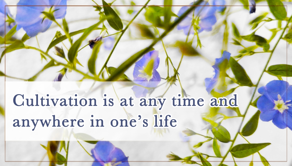 Cultivation is at any time and anywhere in one's life